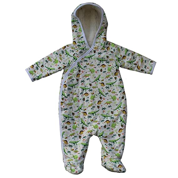 51bf761a4 Powell Craft Baby Boys Dinosaur Fleece Lined Snuggle Suit.Green ...