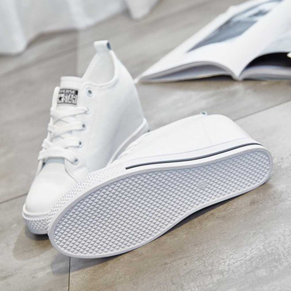 Damen Sneaker Rundzehen Rutschfest Freizeitschuhe Schnür Aufzug Frühling Flach Rutschfest Rundzehen Studenten Schuhe e00ae3