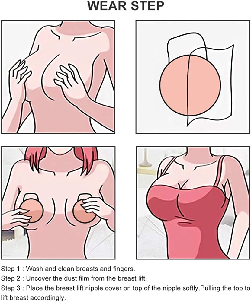 Silicone Adhesive Bra Breast Lift Nipple Cover Strapless Bra with Nipple Skin Nippleless Covers