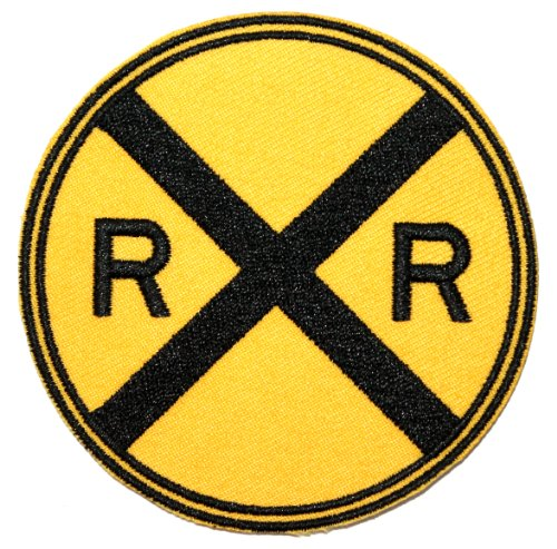 (Railroad Crossing Patch Railway RR Warning Sign Embroidered Iron On Applique)