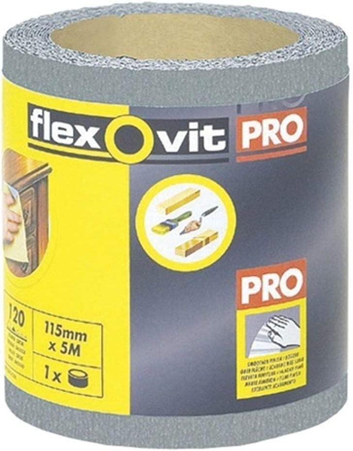 RDGTOOLS Flexovit Pro by Norton Finishing Sandpaper Roll 115mm x 5m 180 Grit