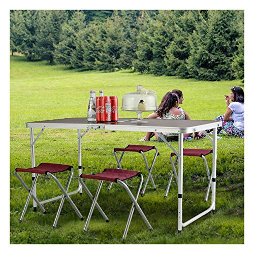 Stools 27 Drafting (Outdoor Portable Folding Aluminum Camping Picnic Table 4 Chair Stool Set Party)