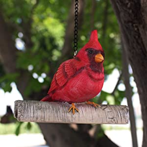 JHP Animal Hanging Garden Sculpture,Whimsical Indoor Outdoor red Bird Statues,Garden Peeker Handmade Funny Home Decor and Yard Art-Cardinal Figurine Birds Decoration