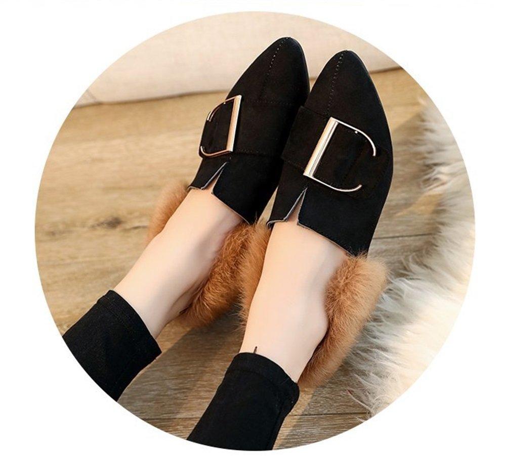 TMKOO 2017 Herbst Neue plüsch Schuhe Weiblichen Koreanischen Ferse Spitzen Flache Schuhe Niedrigen Ferse Koreanischen mit Peas Schuhe Frauen (Color : Schwarz, Größe : 39) Schwarz 2ba663
