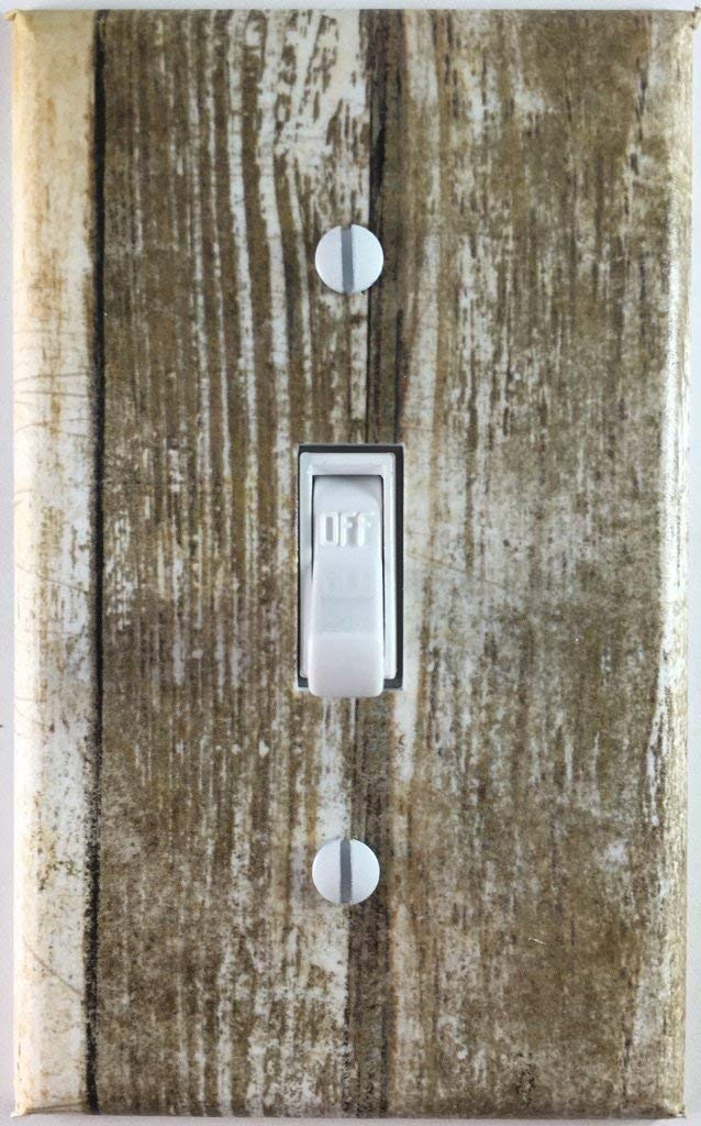 Whitewash Rustic Wood Design Decor Decorative Single Toggle Light Switch Wall Plate