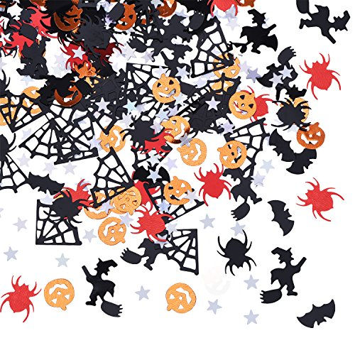 BBTO Confetti Halloween Night Party Table Scatter Decoration Pumpkins Spiders Bats Witches Spider Webs Five-Pointed Star