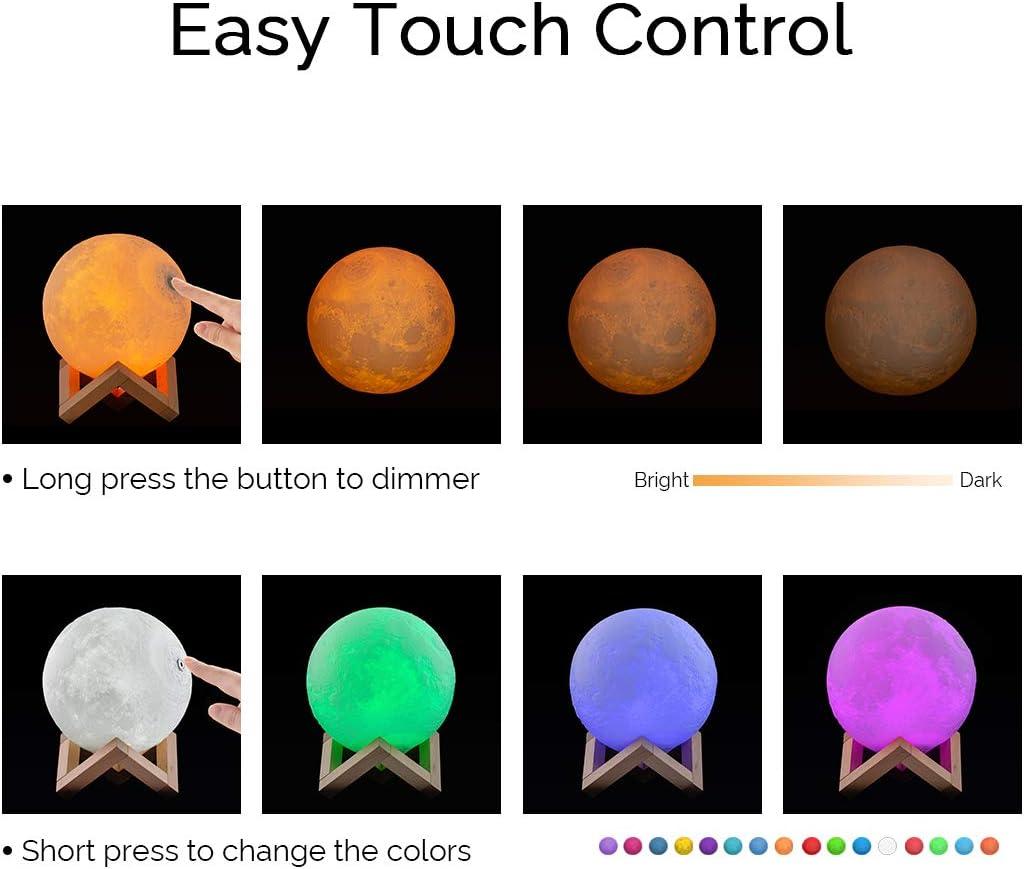 ICONNTECHS IT Mond Lampe 3D-gedruckte Helligkeit dimmbar Mondlicht 16 RGB Farben USB wiederaufladbare Fernbedienung /& Touch-Steuerung Nachttischlampe Damengeschenk Nachtlicht f/ür Kinderzimmer 15 cm L