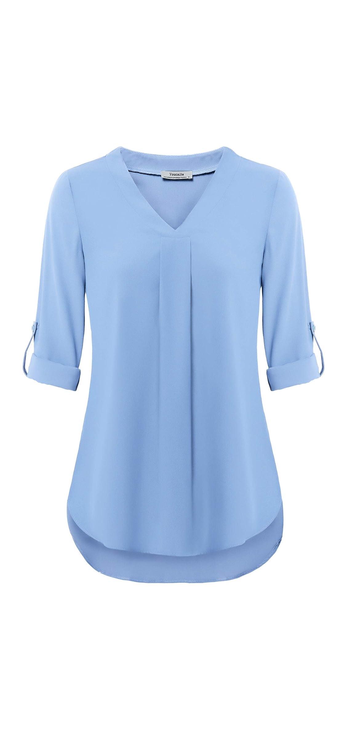 Womens / Cuffed Sleeve Chiffon Printed V Neck Casual