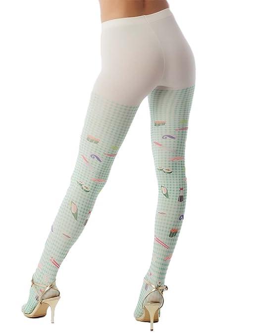 17d30331ab375 iB-iP Women's hosiery cute sushi cartoon nylon plaid Mid Waist Pantyhose  Tights, Size: One Size, Dusty Green & Light Yellow: Amazon.co.uk: Clothing