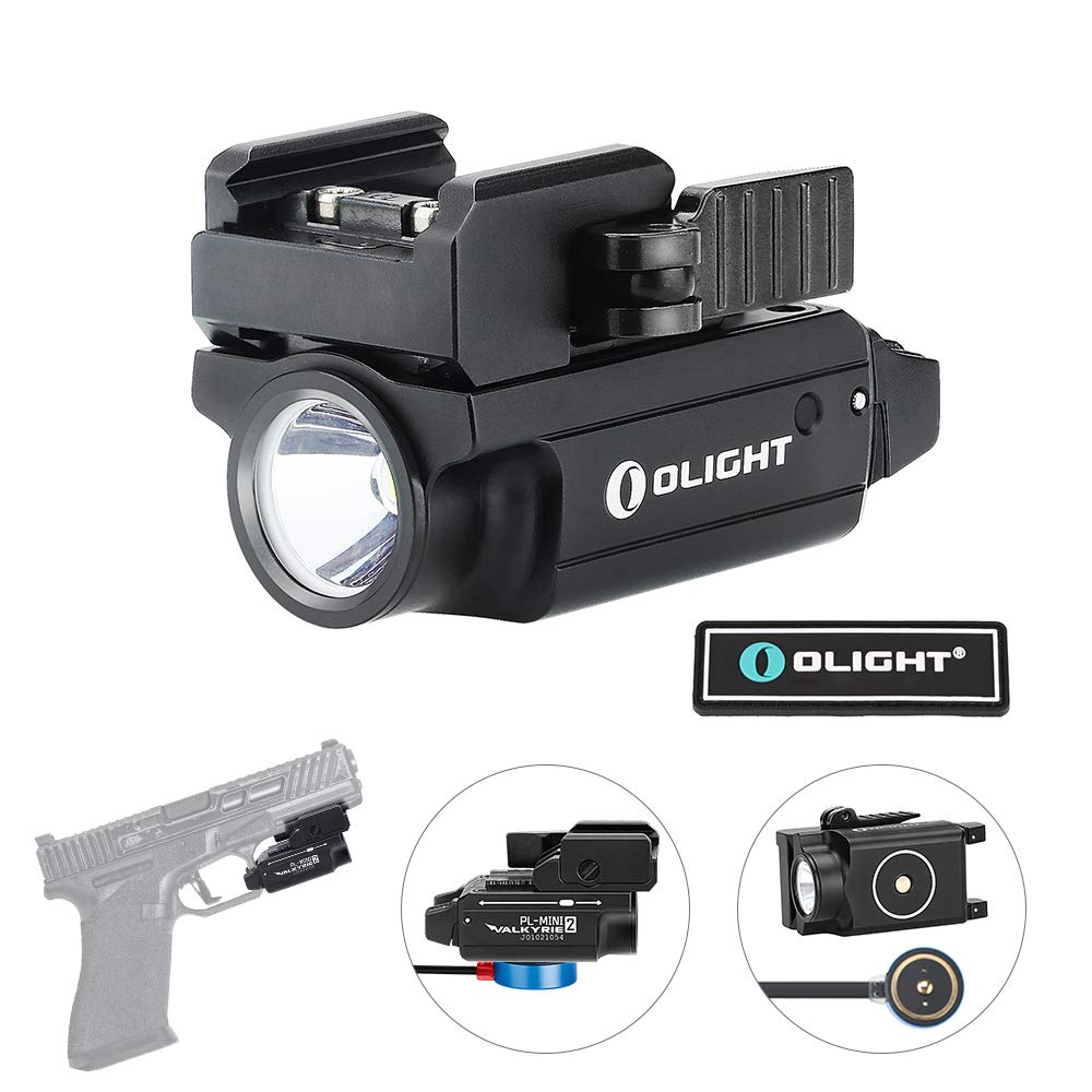 OLIGHT PL-Mini 2 Valkyrie 600 Lumens Cree XP-L HD CW Magnetic USB Rechargeable Compact Weaponlight with Adjustable Rail, Patch (Black) by OLIGHT