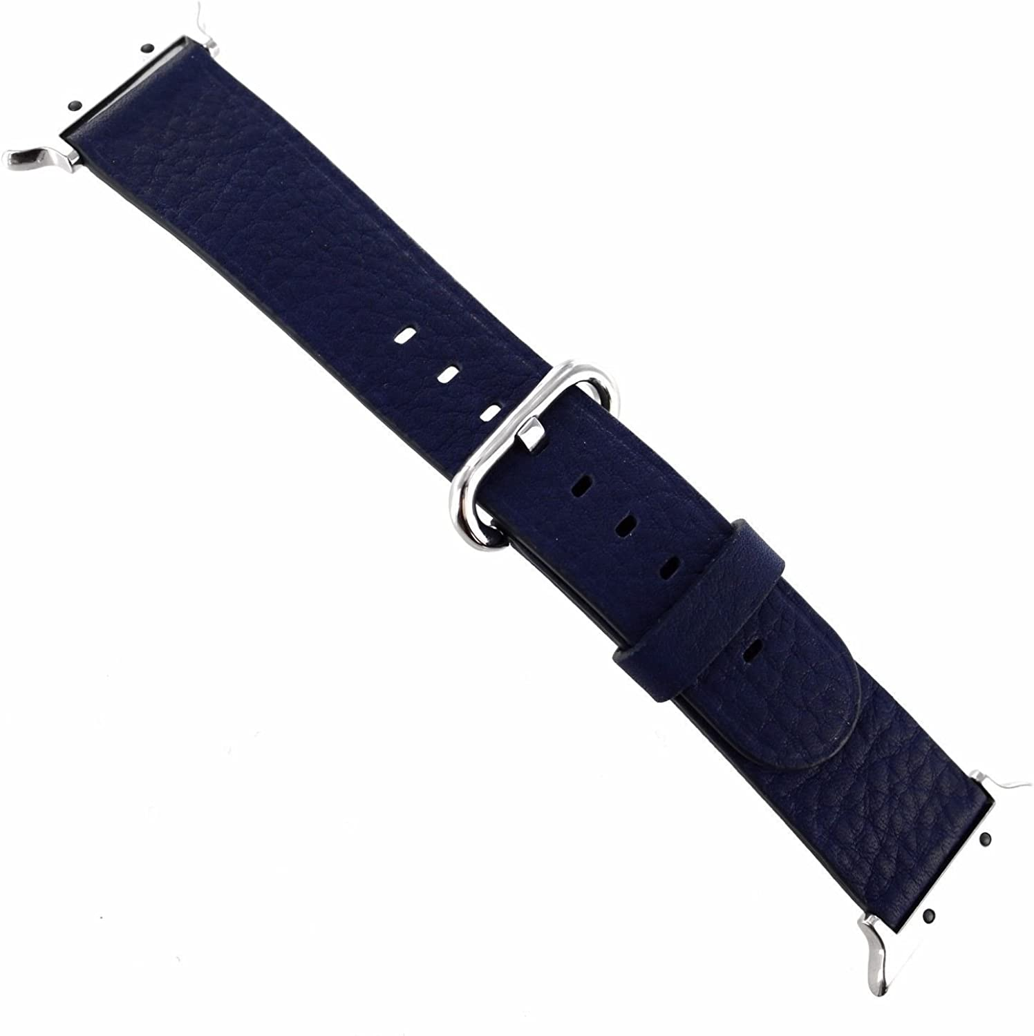 38mm Navy Genuine Leather Watch Band with Metal Adapters Fits Apple Watch