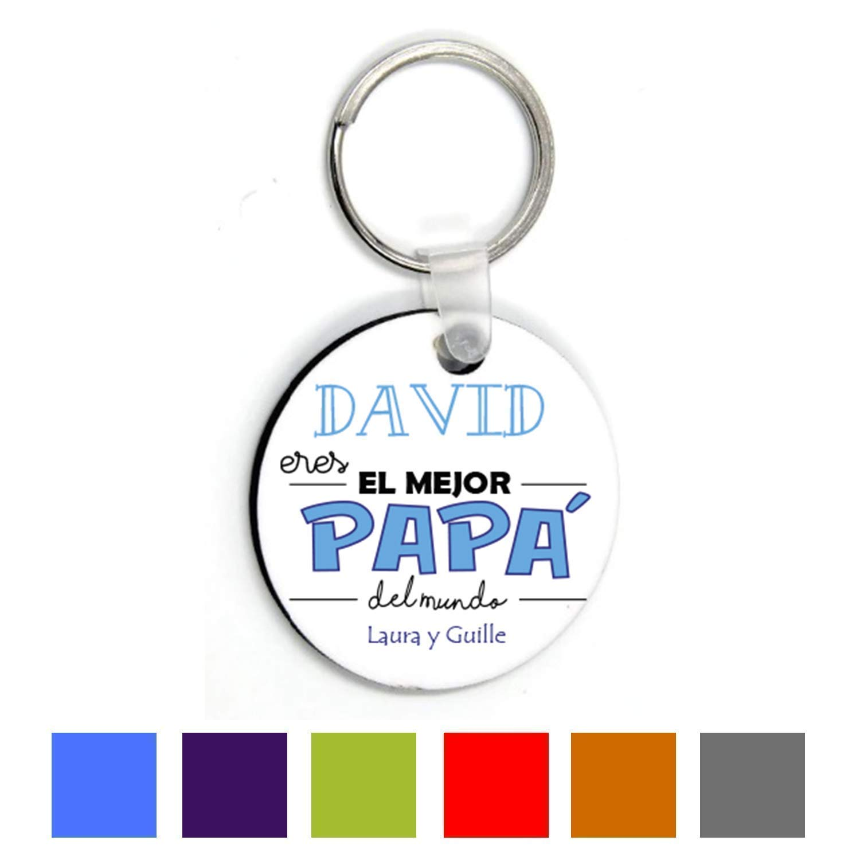 Kembilove Llavero Padre Personalizado con nombre - Llavero Redondo Eres el Mejor Papà del Mundo - Regalos Originales para el día del Padre, Cumpleaños