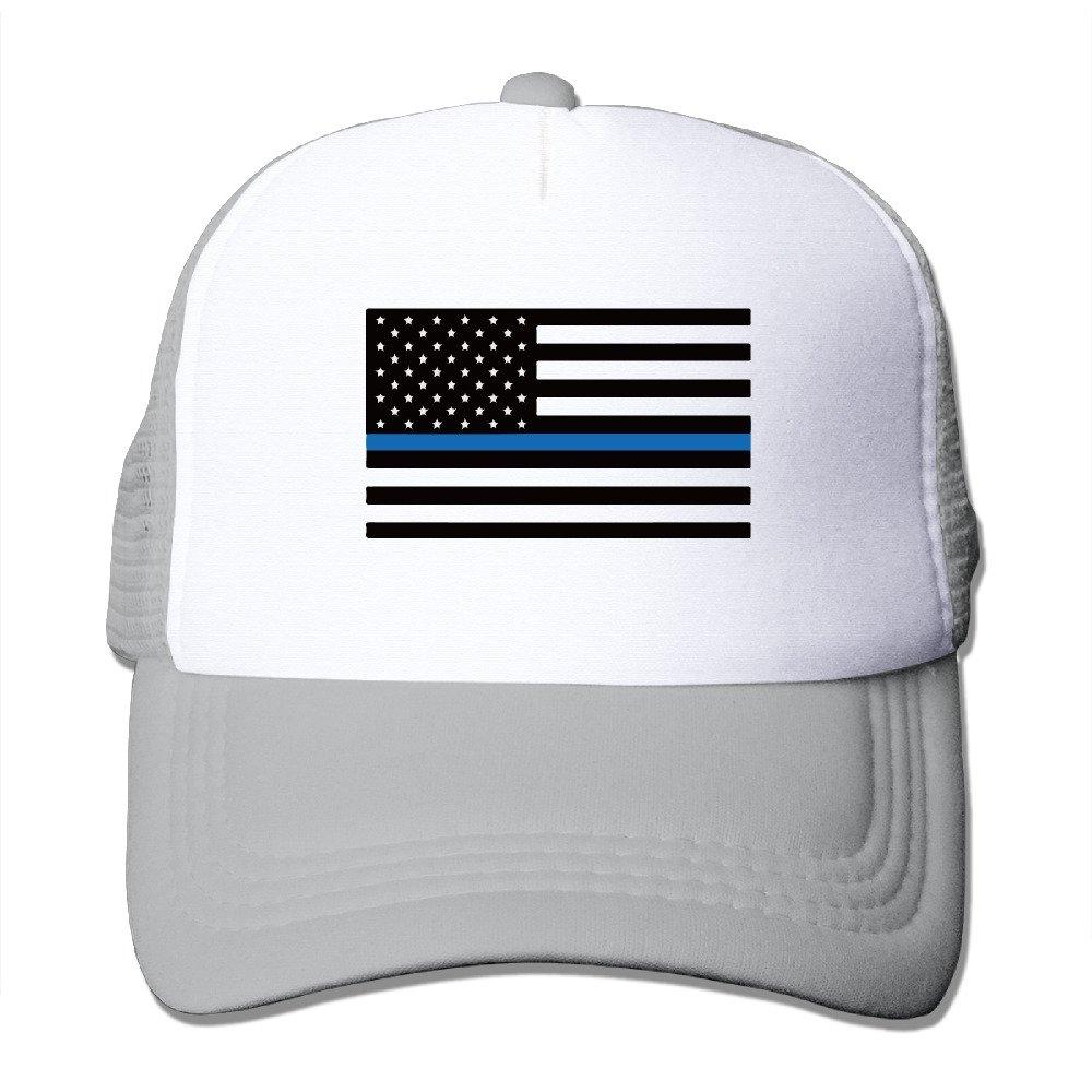 Men Women Adjustable Blue Lives Matter Flag Trucker Cap Youth Mesh Hat Ash  at Amazon Men s Clothing store  0a56700a09a
