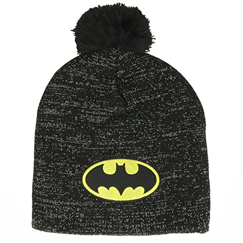 Batman Logo Embroidered Patch Lurex Pom Accent Beanie - Black