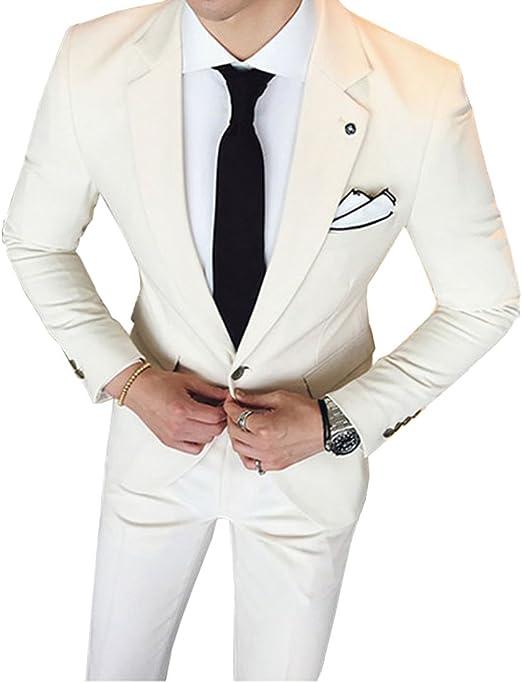 Amazon.com: Fitty lell trajes de hombre color beige claro ...