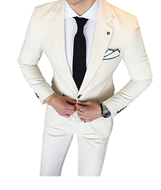Amazon.com: Fitty lell trajes de hombre color beige claro ...