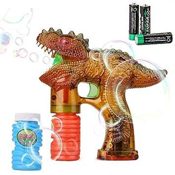 Shinehalo Pistola de Burbuja Transparente con Luces LED, Efecto de Sonido, 3 baterías y
