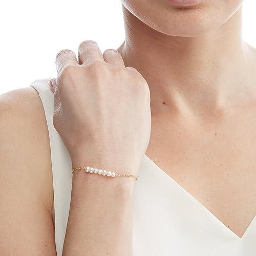1db1ba09b Amazon.com: Small Freshwater Pearl Bracelet -Simple Minimal-Bridal Wedding  Bride Bridesmaid-14k Gold Filled, Rose Gold Filled, Sterling Silver -  CG258B: ...
