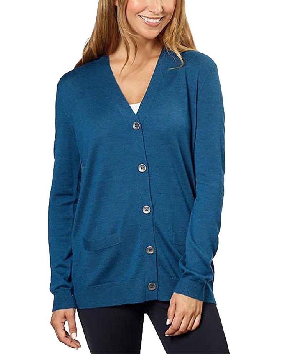 Kirkland Signature Women 100% Extra Fine Merino Wool Cardigan (Blue, X-Large)