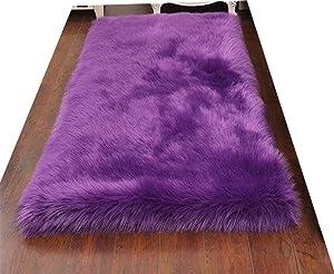 HUAHOO Faux Fur Sheepskin Rug Purple Kids Carpet Soft Faux Sheepskin Chair Cover Home Décor Accent for a Kid's Room,Childrens Bedroom, Nursery, Living Room or Bath. 2' x 3' Rectangle