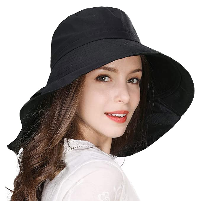 df52f887 Jeff & Aimy Ladies Sun Hat Packable UV Protection Cotton Bucket Hat Wide  Brim Ponytail Hole