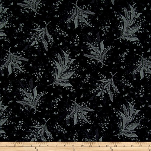 Maywood Studio 0558337 Greenery Tonal Lily Black Fabric by The Yard,