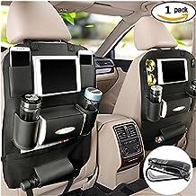 PALMOO Pu Leather Car Seat Back Organizer and iPad mini Holder, Universal Use as Car Backseat Organizer for Kids, Storage Bottles, Tissue Box, Toys (Black-1 Pack)