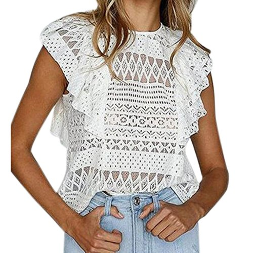 Ruffle Cami Trim (Women Boho Sexy Hollow Lace Sleeveless Solid Ruffle Trim Cami Tank Tops Shirts Vest Blouse (M, White))