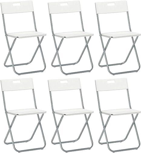 savino Felipe SRL 6 sillas silla Plegable blanca IKEA gunde de acero hierro y Metal para Sala de espera casa Invitados cocina Salón Camping Bar ...