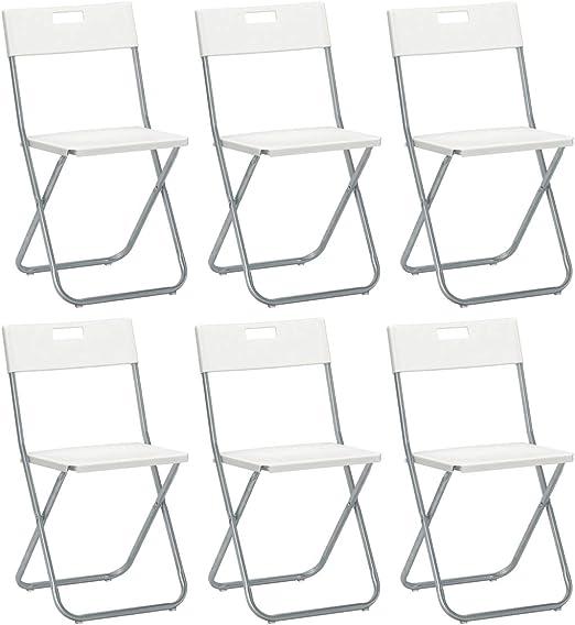 Savino Felipe SRL 6 sillas Silla Plegable Blanca IKEA gunde de Acero Hierro y Metal para Sala de Espera casa Invitados Cocina Salón Camping Bar Restaurante Catering Vaquero Plegable: Amazon.es: Jardín