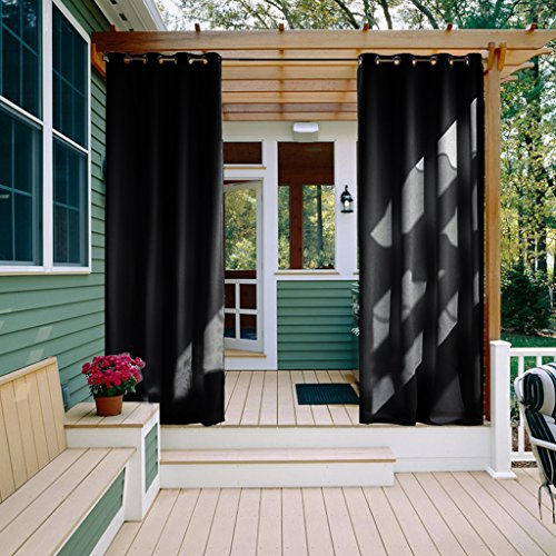 Indoor Outdoor Curtains (Outdoor Drape and Curtain Pergola - NICETOWN Window Treatment Energy Saving Thermal Insulated Outdoor Indoor Grommet Blackout Curtain /Drape for Livingroom (1 Panel,52 by 95-Inch, Black))