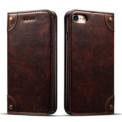 Hawk Wallet (Iphone 6 plus/6s plus Leather Wallet Phone Case Flip Protective Card Holder Cover Kickstand Folio Cover Coffee Case)