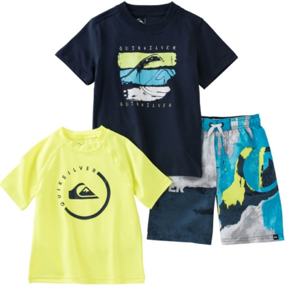 Quiksilver Little Boys Rash Guard Swim Outfit with SHORTS, RASH GUARD & TEE! 3 Pieces (5, Navy Lime)