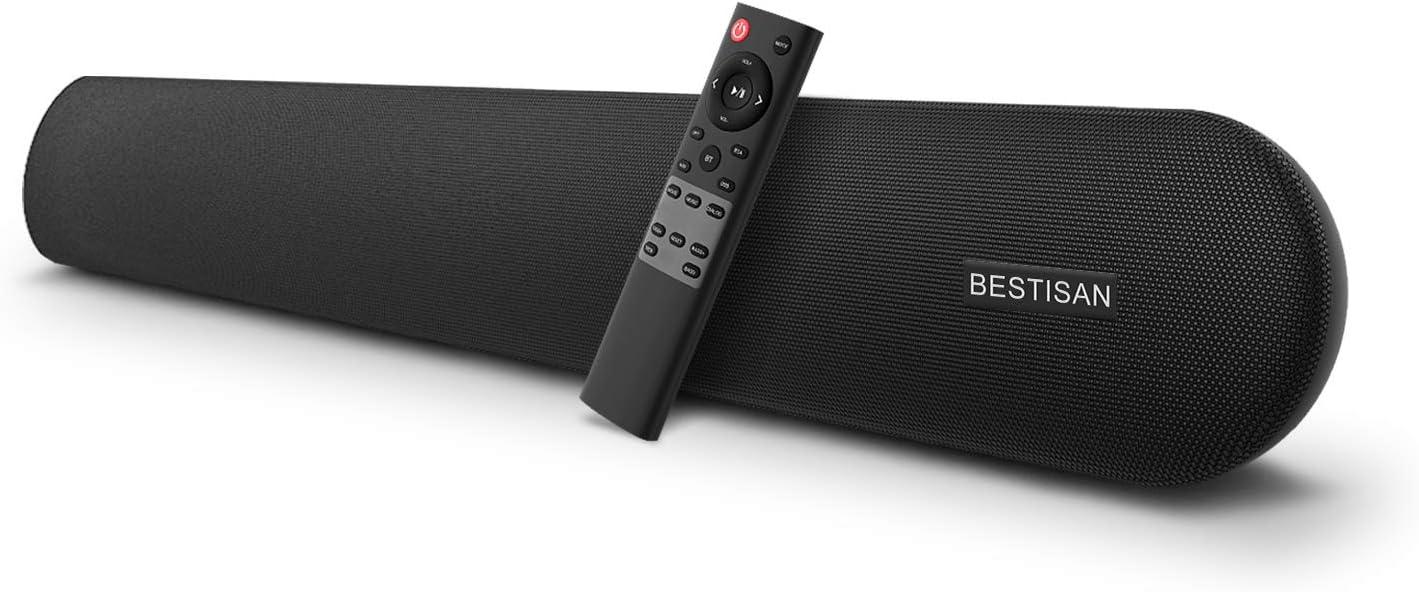 Amazon Com Soundbar Bestisan 80 Watts Tv Sound Bar Home Theater Speaker With Dual Connection Way Bluetooth 5 0 Movie Music Dialogue Audio Mode Enhanced Bass Technology Bass Adjustable Wall Mountable Home Audio Theater