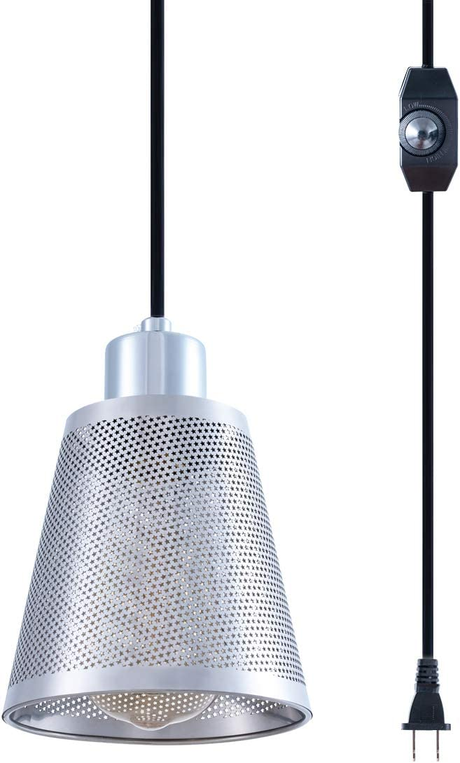 SHENGYADI Modern Mini Hanging Lights with 15FT Plug in Cord & On/Off Dimmer Switch Stainless Steel Pendant Lighting Fixture Vintage Farmhouse Swag Lamp for Kitchen Island Dining Table Bedroom Cabinet