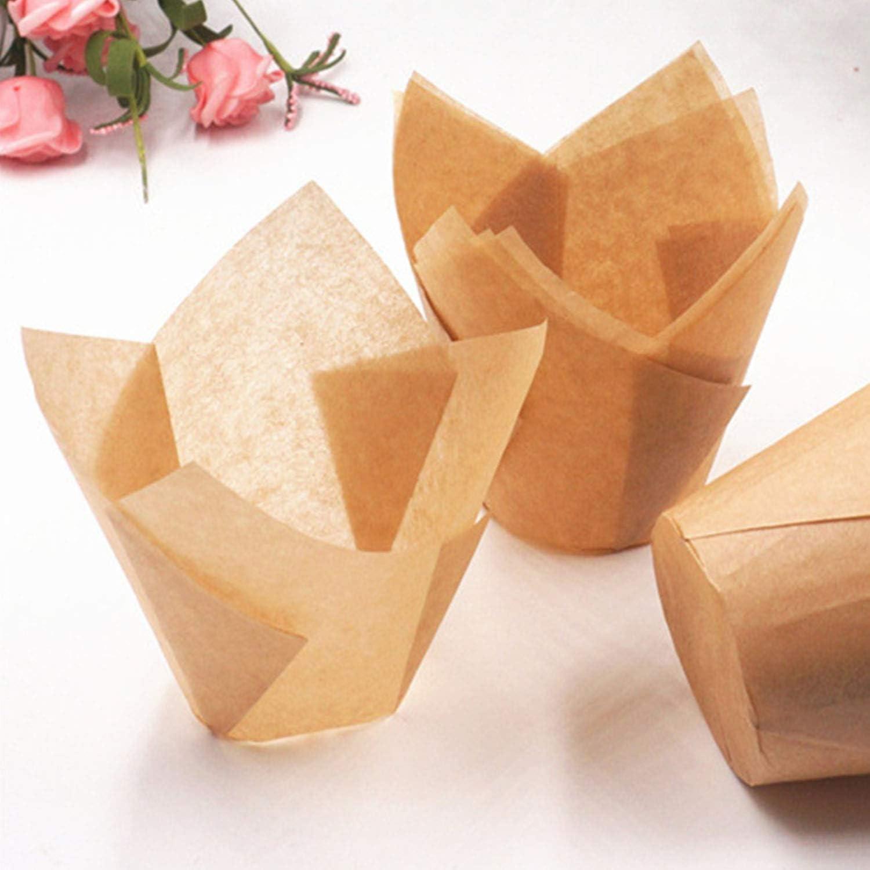 HitTopss in carta da forno naturale Confezione da 200 pirottini baby shower Marrone cioccolato feste compleanni per cupcake per matrimoni