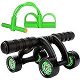 KANSOON 凯速 家用瘦身健腹轮 搭配拉力器组合套装 四轮静音腹肌轮 美腰收腹健身器材 KA32