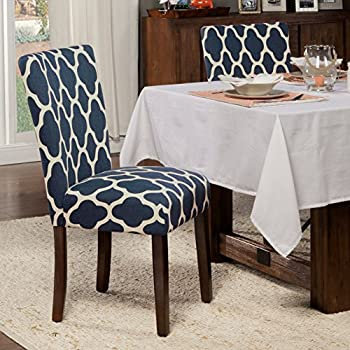 Kinfine Parsons Upholstered Accent Dining Chair, Set of 2, Navy and Cream Geometric