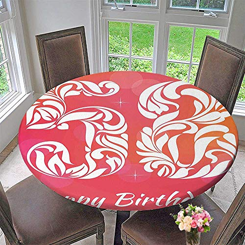 (Round Fitted Tablecloth Decorations Embellished Number Typography Anniversary Age Unique Motif Dark Coral White for All Occasions 59