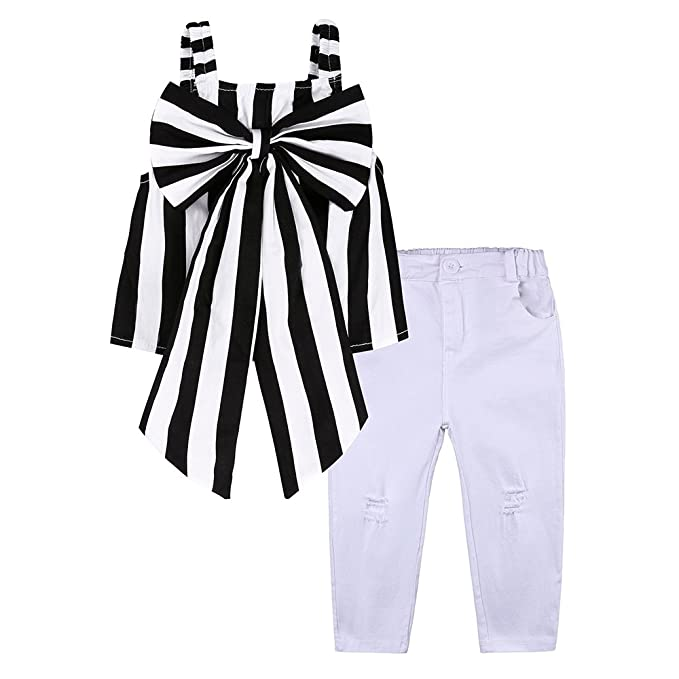 62021d1917b5f Kids Tales Baby Girl 2Pcs Black Striped Bowknot Top White Jeans Long Pants  Pants