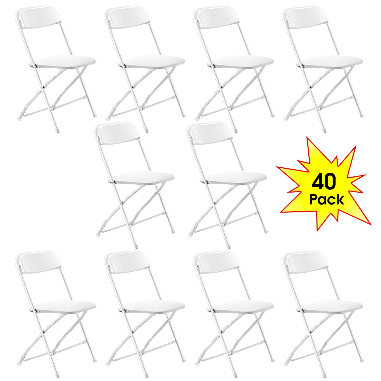 Kealive White Plastic Folding Chair 40 Pack Fold Chair 330 lbs Weight Capacity for Events, Parties, Premium Lifetime Fold Up Chair Portable by kealive
