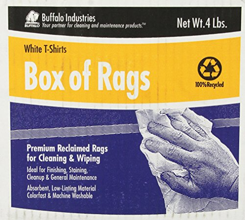 Buffalo Industries (10520) White Recycled T-Shirt Cloth Rags - 4 (Cleansing Box)