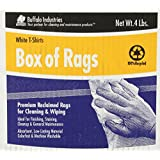 Buffalo Industries (10520) White Recycled T-Shirt Cloth Rags-4-Pounds Box