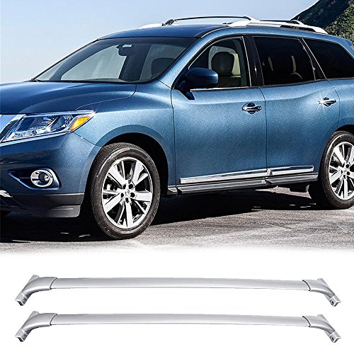 VIOJI 1 Pair Sliver Al Roof Racks Top Rail Carries For 13-17 Nissan Pathfinder (Need Factory Side Rails)