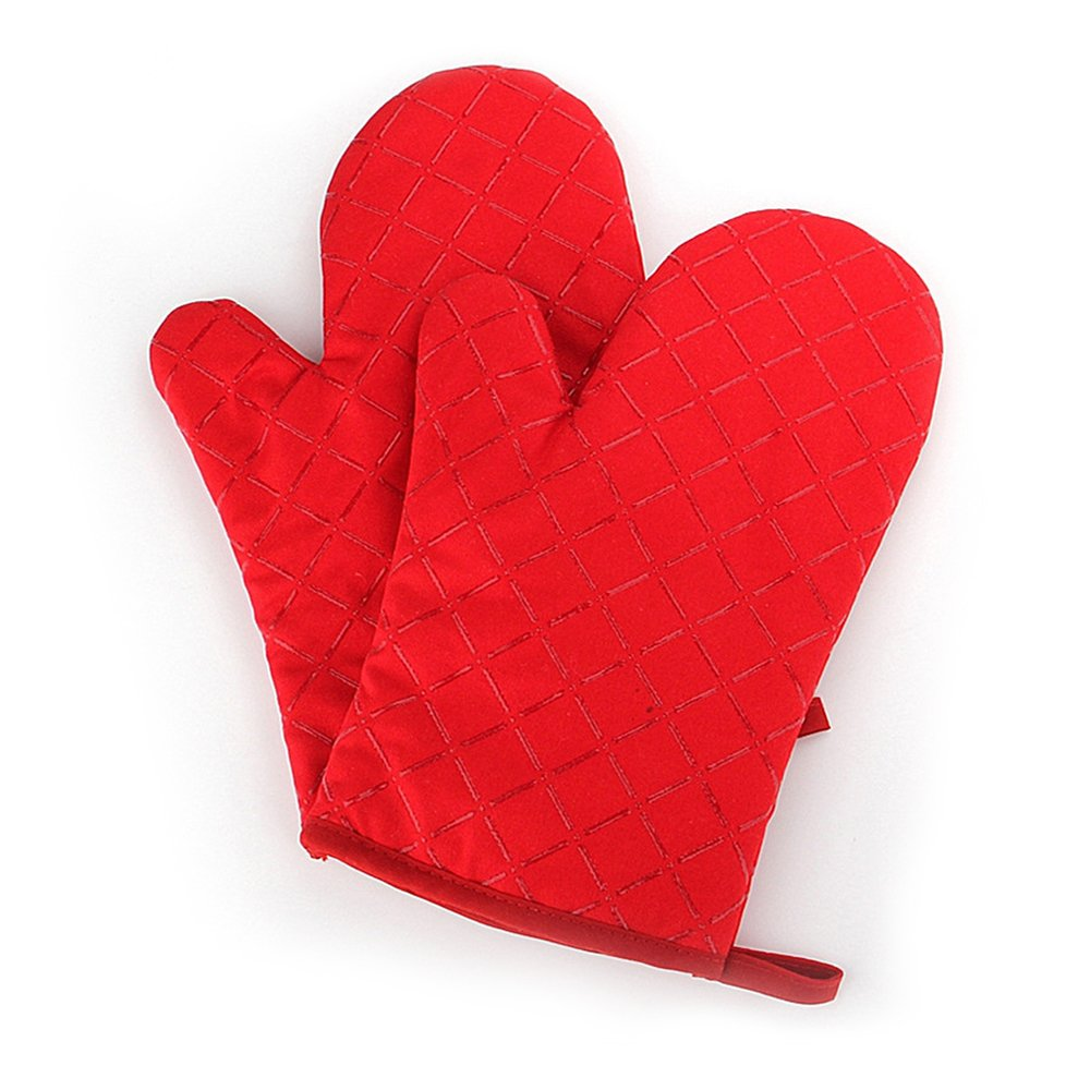 B.LeekS Cotton, Flame Retardant Quilted Silicone Coating Mitts Heat Resistant Potholder Microwave Oven Glove for Kitchen BBQ One Pair (Red)