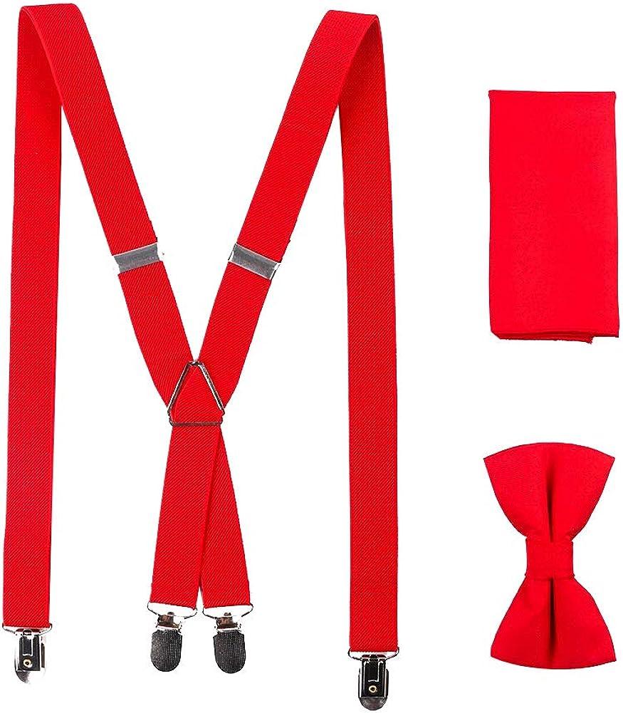 AAGOOD Los Hombres Accesorio de Vestir de Moda Color Puro Correas Ajustables de la Pajarita del pañuelo Kit Multi Función Clips Tirantes Ropa Formal de Accesorios 1 Juego Estilo Bd003-b