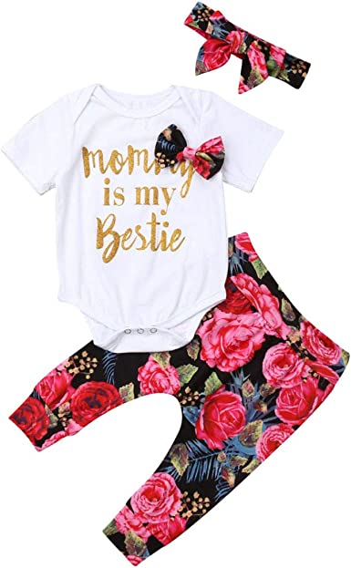 Newborn Infants Baby Girl Tassel Tank Tops T-Shirt+Floral Pants+Headband Outfits