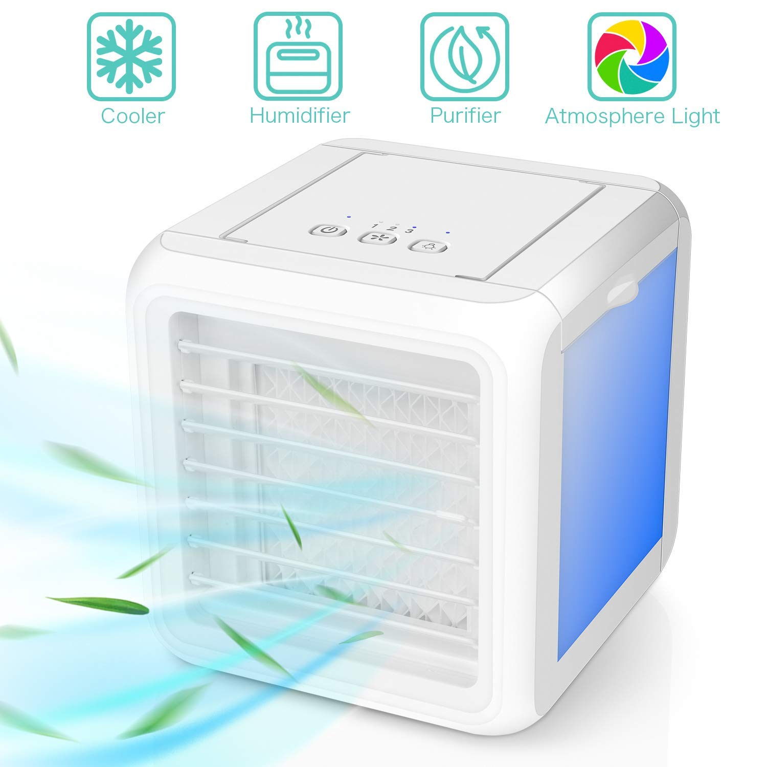 Leakproof New Filter y- White 3 in 1 Mini Personal Space Cooler /& Humidifier /& Purifier with 7 Colors LED Lights Mobile Air Conditioners Nifogo Air Portable Cooler