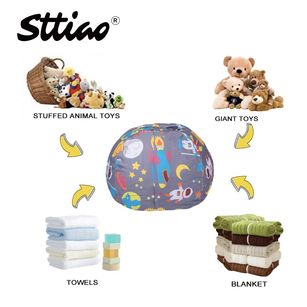 STTIAO Kids Stuffed Animal Storage Bean Bag Cover with Carrying Handle Sturdy Cotton Bean Bag Cover Perfect for Toys and Clothes Kids Gift Size 38, Astronaut, Cover ONLY