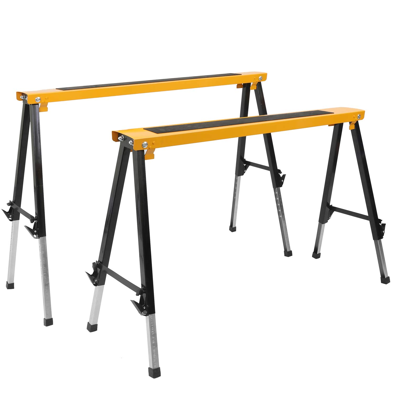2 Pack Adjustable Saw Horse w/Clamps and Handle Heavy Duty Folding Portable Sawhorse 330lbs Weight Capacity Each by Hromee (Image #1)
